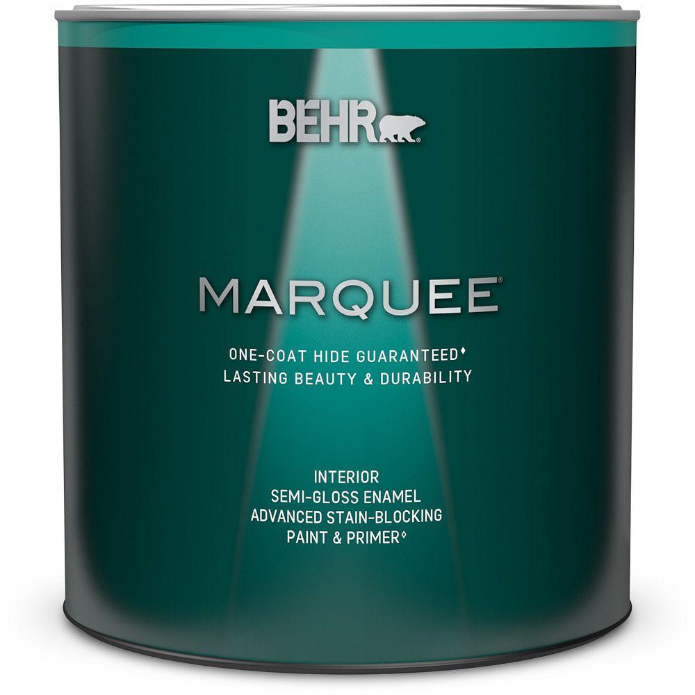 Behr Marquee Peinture et apprêt en un MarqueeMD dintérieur avec fini émail semi-brillant blanc ultra pur (939 ml)