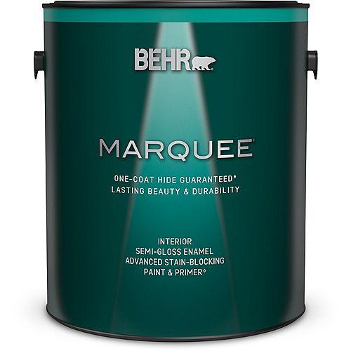 Peinture et apprêt en un MarqueeMD dintérieur avec fini émail semi-brillant blanc ultra pur (3,7L)