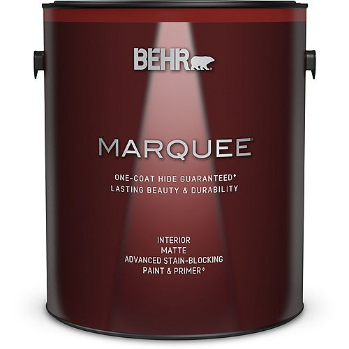 Behr Marquee Ultra Pure White Matte Interior Paint with Primer, 3.7 L