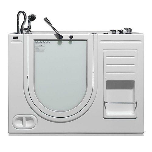 Homeward Bath Hydrolife Series 51 in. x 30.5 in. Walk-In Air Bath Bathtub in White, LHS Outward Door, Faucet Set