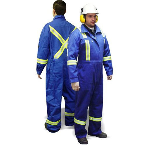 Fire Retardant Blue Coverall With Reflective Striping, Size Large