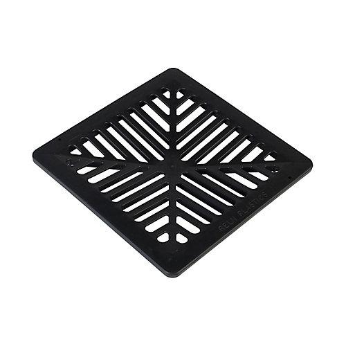 Grille carrée et plate en plastique noir de 12 po