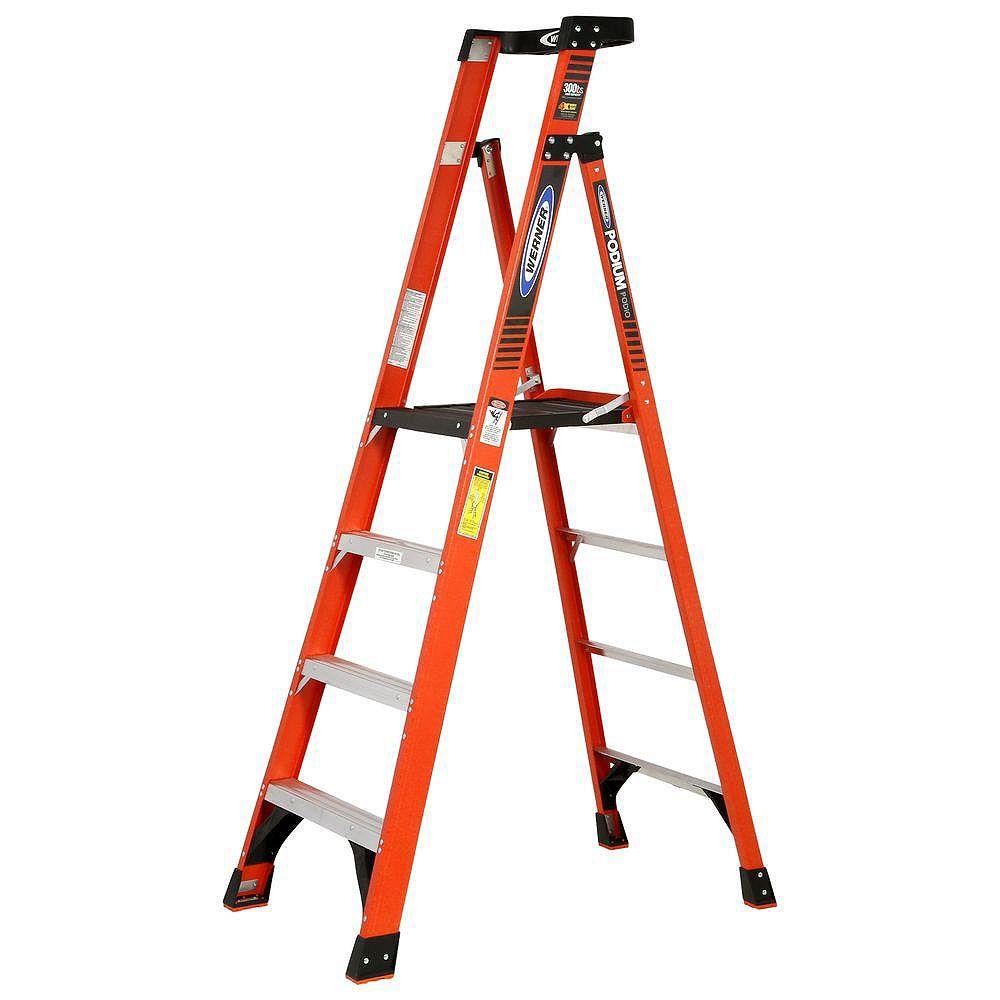 Werner 10 feet Reach fibreglass Podium Ladder with 300 Lb. Load Capacity Grade IA