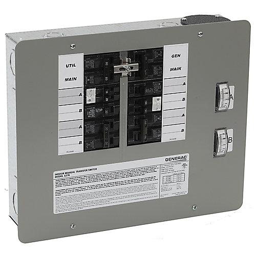 Commutateur/converteur manuel intérieur, 30A, 7500W pour 10 à 16 circuits