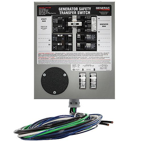 Commutateur/converteur manuel intérieur précâblé, 30A, 7500W pour 8 à 10 circuits