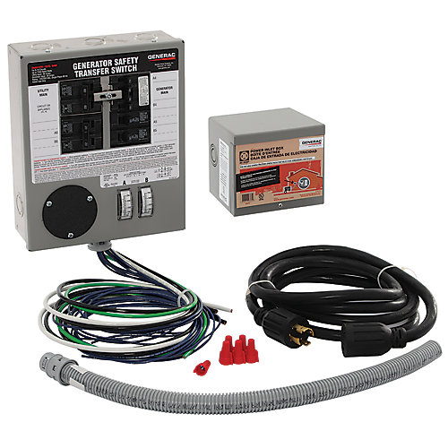 30-Amp Indoor Generator Safety Transfer Switch Kit for 6-10 Circuits