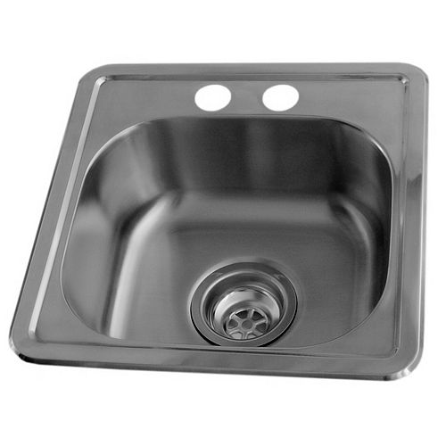 Drop-In Stainless Steel 15-inch x 15-inch 2-Hole Bar Sink