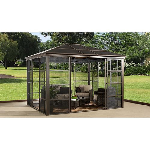 Stockton 10 ft. x 12 ft. Solarium with Sliding Doors in Bronze