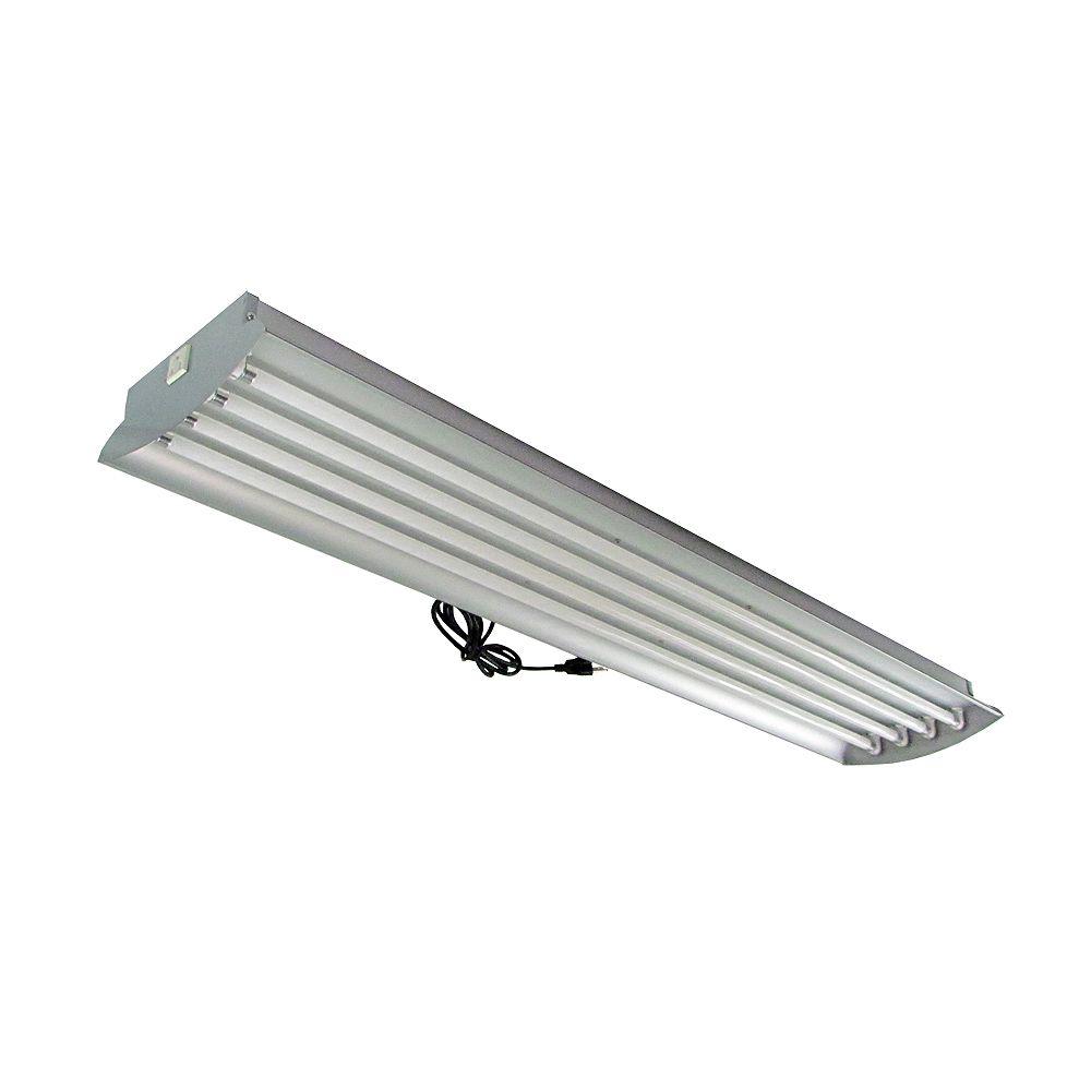 Home Selects Luminaire en aluminium à 4 tubes fluorescents T5 à puissante luminosité de 54 watts (chacun) pour horticulture, avec tubes, 4 pi