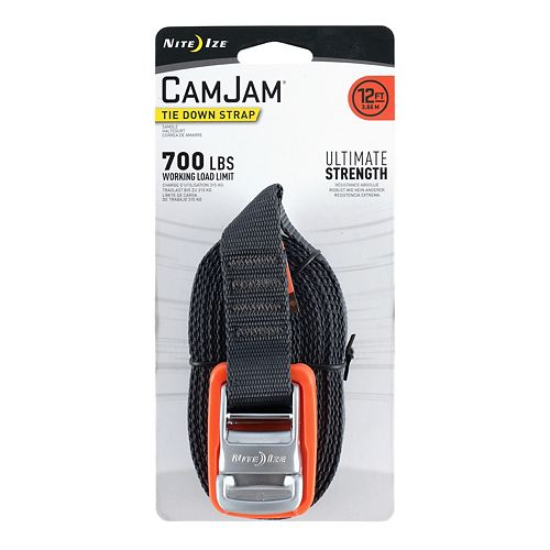 Nite Ize CamJam Tie Down Strap, Zinc Alloy Buckle + Strong Webbing, 700LB Load Limit, 12 FT Webbing