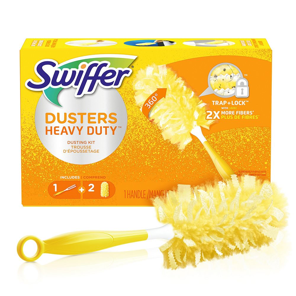 Swiffer 360 Dusters Heavy Duty Dusting Kit with 1 Handle and 2 Dusters