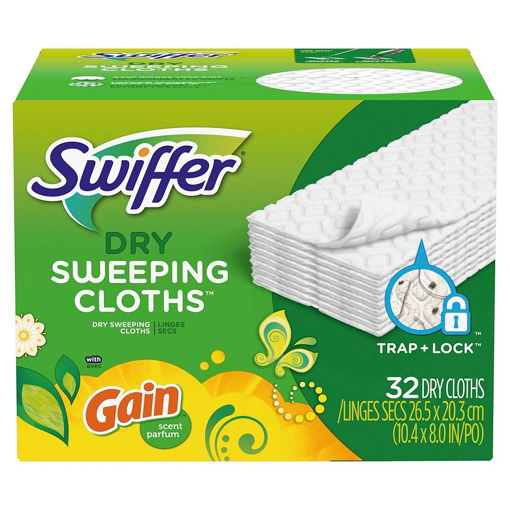 Swiffer Recharge de coussins secs Swiffer Sweeper, parfum Gain, 32 unités