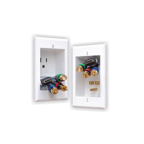 In-Wall Power Connection Kit with Single Power and Cable Management for Wall Mounted HDTV