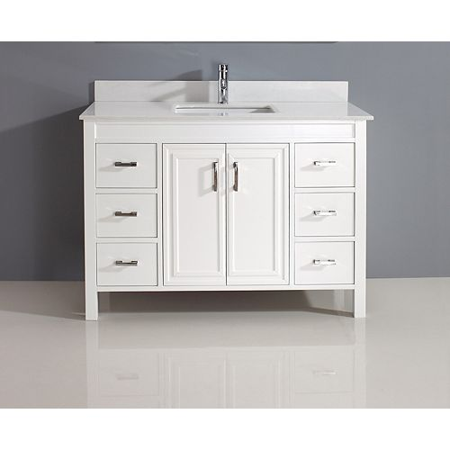 Corniche 48-inch W 6-Drawer 2-Door Vanity in White With Artificial Stone Top in Off-White