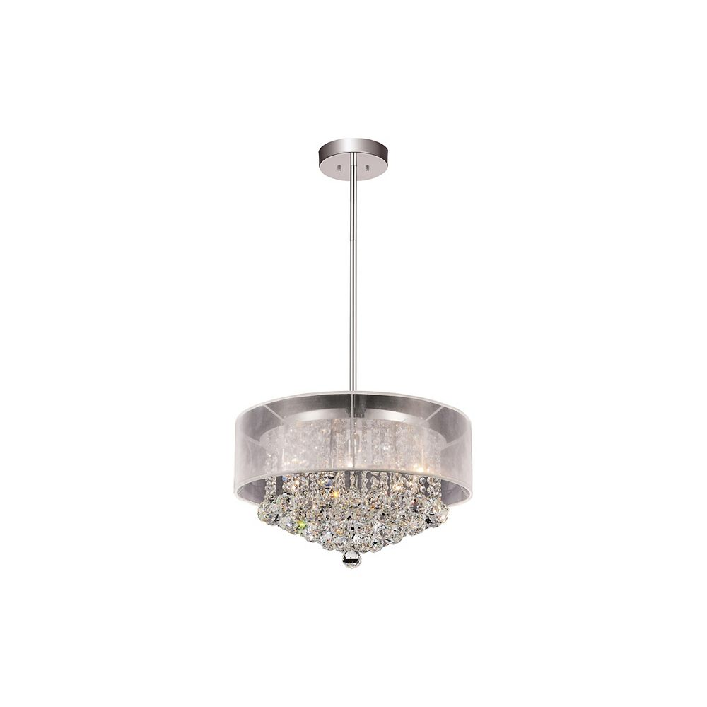 CWI Lighting Round 20 Inch Pendent Chandelier with White Shade