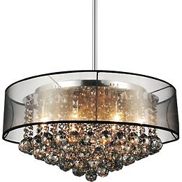 20-inch Round Pendant Chandelier with Black Shade