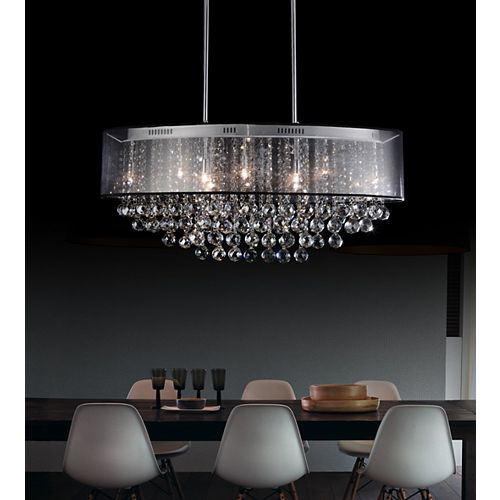 26-inch Oval Pendant Chandelier with Black Shade