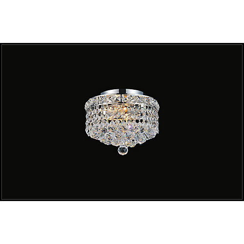 10-inch Round Flushmount Chandelier Light Fixture in Polished Gold