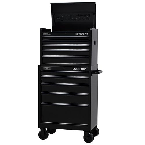 Husky 27-inch 9-Drawer Black Out Mobile Tool Storage Chest & Cabinet Set in Black