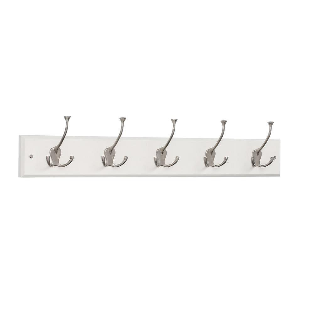 Liberty 27 in. Rail w/5 Tri-Hooks White and Satin Nickel