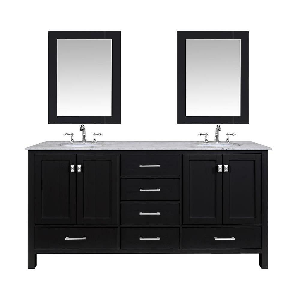 Stufurhome Malibu 72-inch Vanity in Espresso with Marble Vanity Top in Carrara White and Mirror