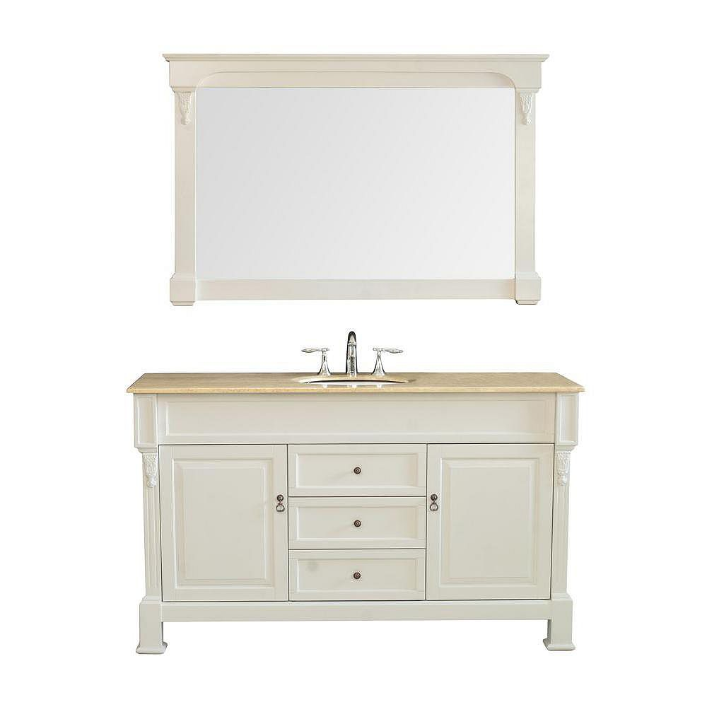Stufurhome Galaxy 60 Inch W x 22 Inch D x 36 Inch H Single Vanity in Cream Finish with Travertine Marble Top and Mirror