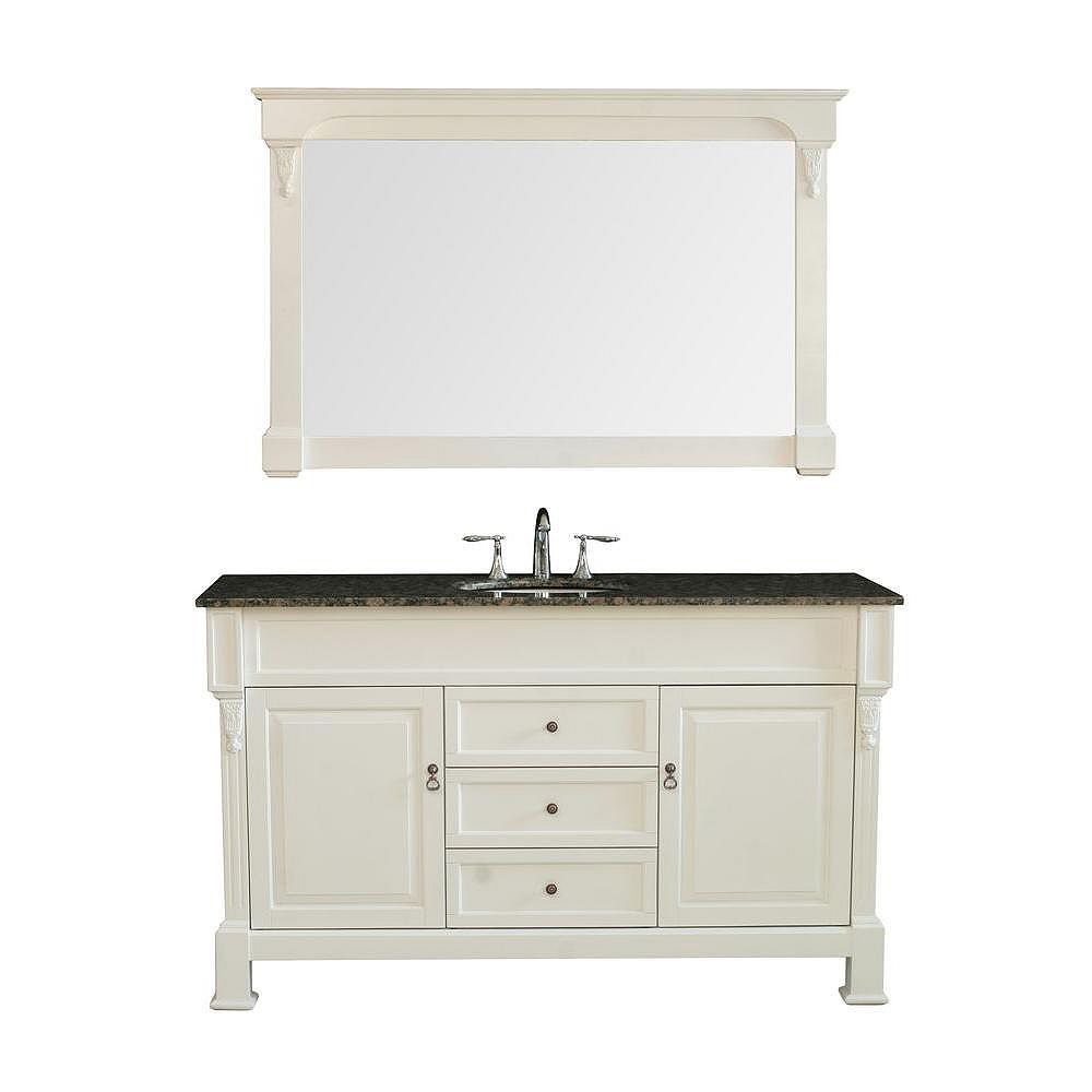 Stufurhome Galaxy 60 Inch W x 22 Inch D x 36 Inch H Single Vanity in Cream Finish with Baltic Brown Granite Top and Mirror