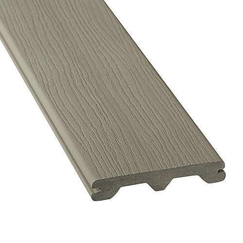 12 feet  - hp capped  grooved composite decking - gray