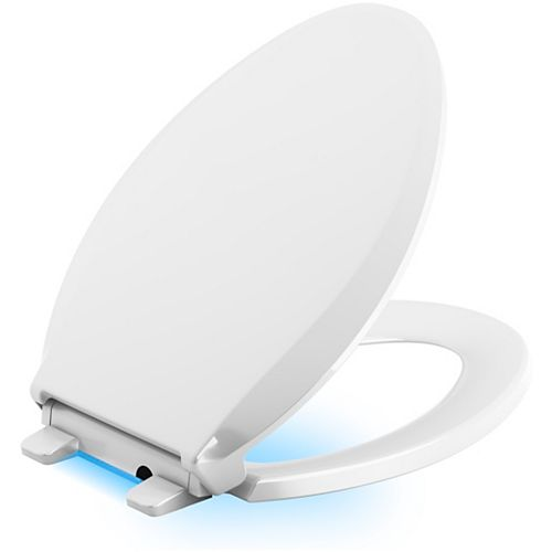 KOHLER Cachet Quiet-Close Elongated Toilet Seat in White with LED Nightlight