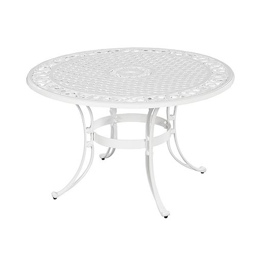 48-inch Round Patio Dining Table in White Finish