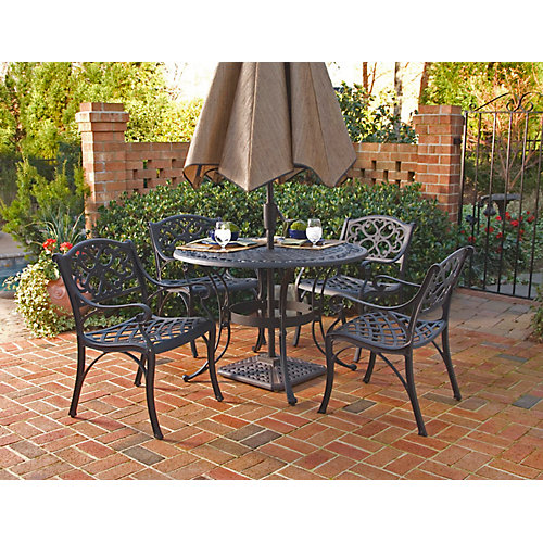 Biscayne 5-Piece Patio Dining Set with 48-inch Black Table and Four Arm Chairs