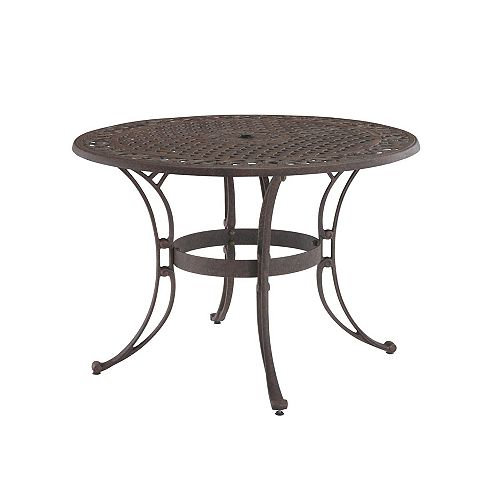 48-inch Round Patio Dining Table in Bronze Finish