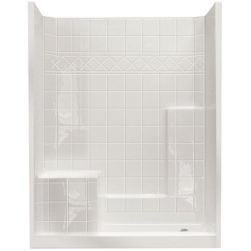 Ella Standard 32 Inch x 60 Inch x 77 Inch - 3-Piece Shower Wall and Base Kit in White with 4 Inch Low Threshold