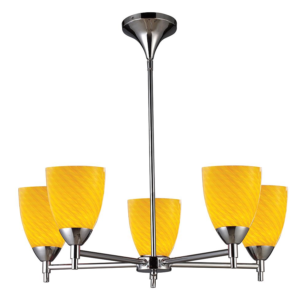 Titan Lighting 5-Light Ceiling Mount Chrome Chandelier