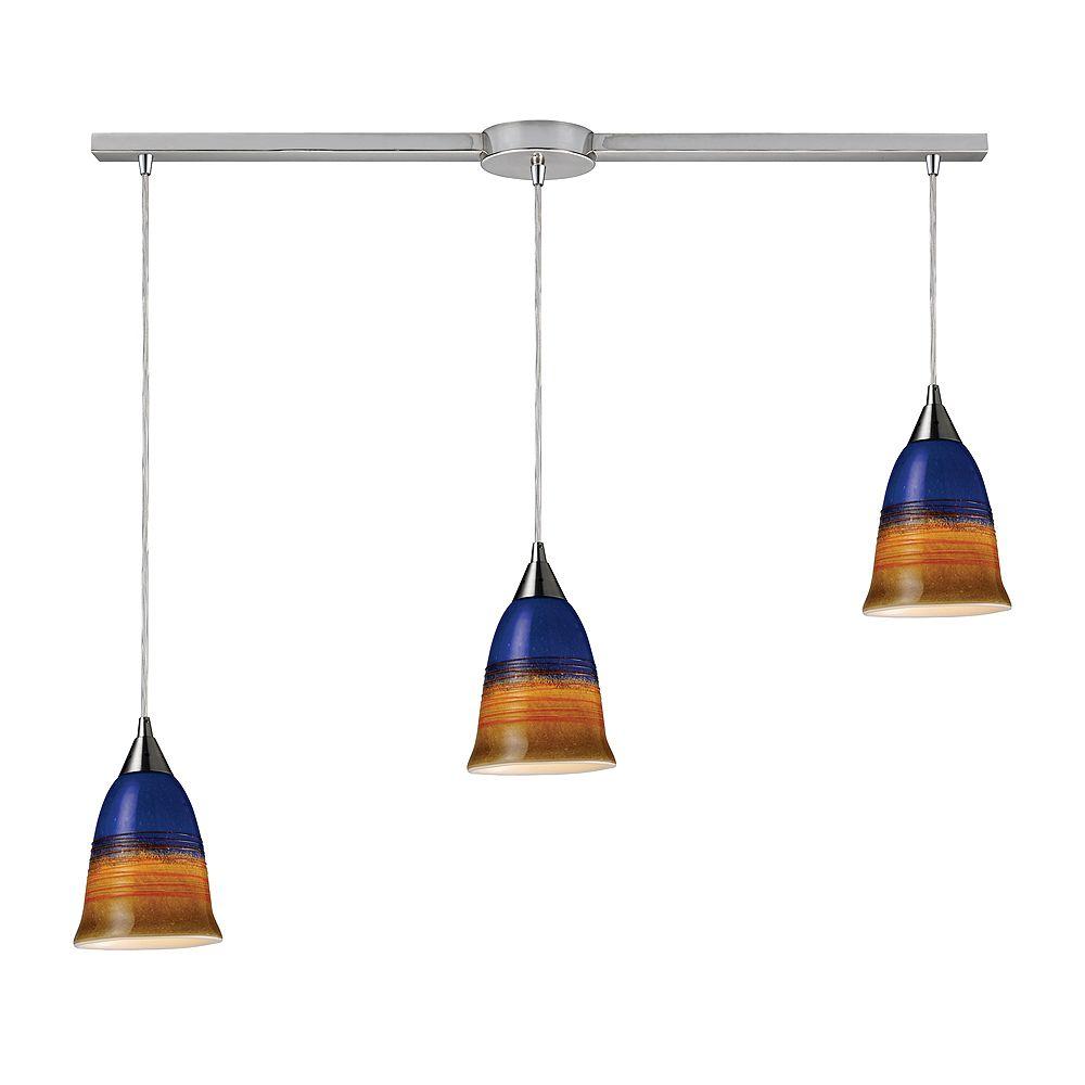 Titan Lighting Luminaire suspendu à 3 ampoules au fini nickel satiné - TN-8547
