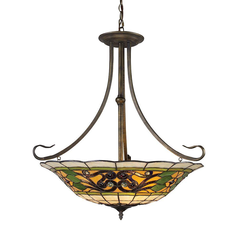 Titan Lighting Luminaire suspendu à 3 ampoules au fini antique ancien