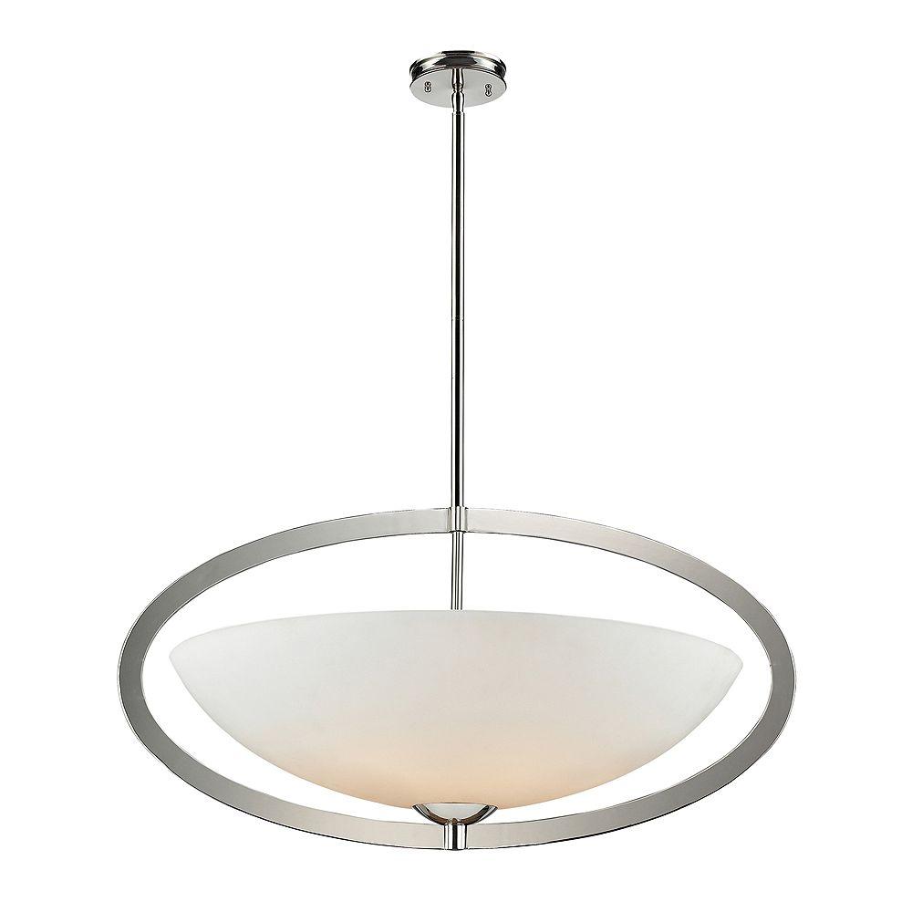 Titan Lighting Luminaire suspendu à 6 ampoules au fini nickel poli