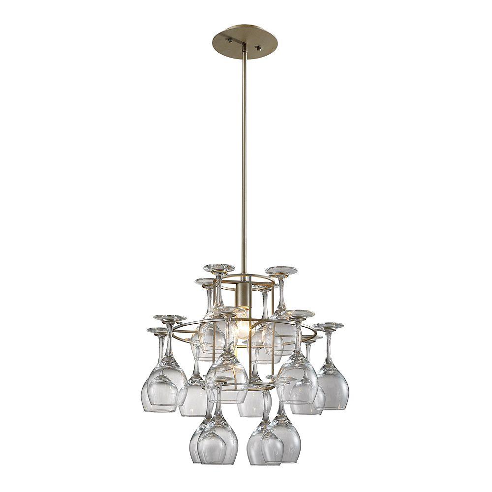 Titan Lighting 1- Light Ceiling Mountaged Silver Chandelier