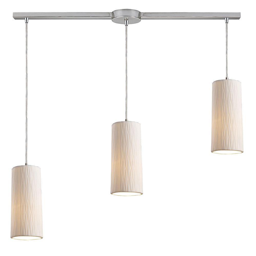 Titan Lighting Luminaire suspendu à 3 ampoules au fini nickel satiné - TN-8440