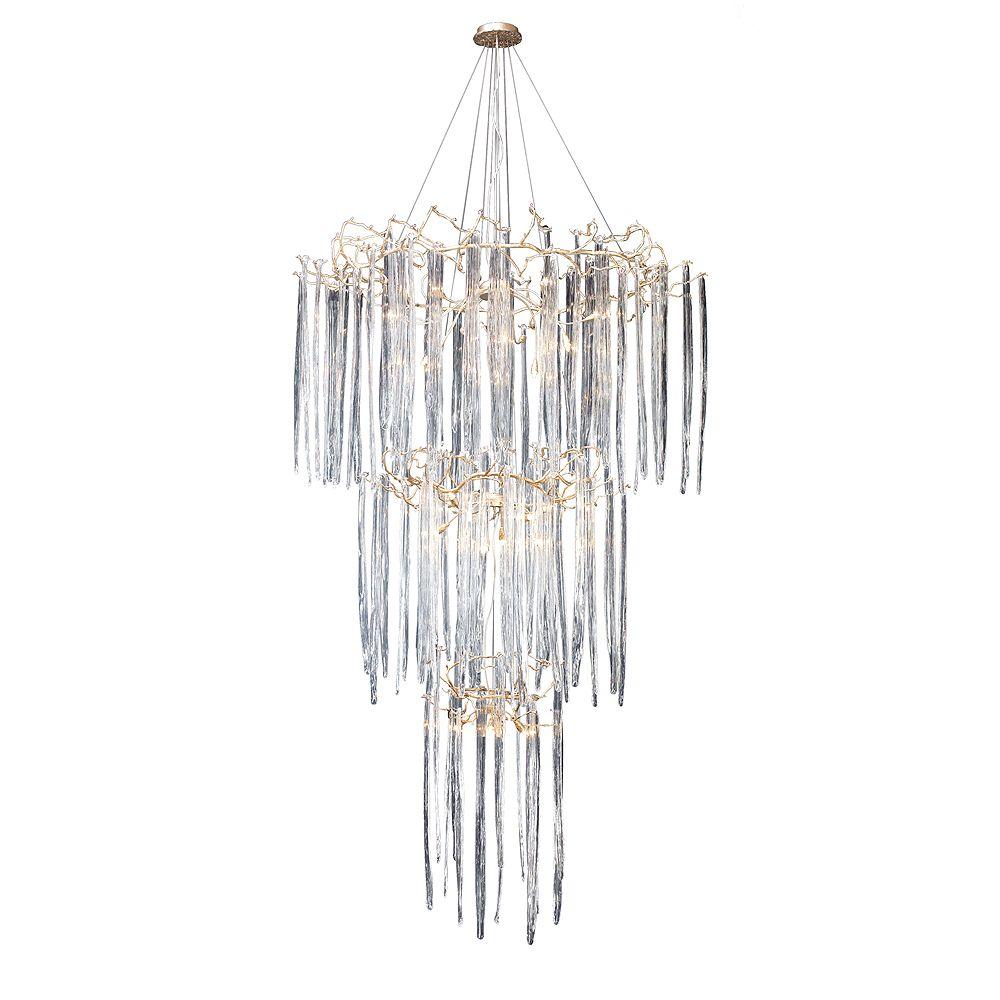 Titan Lighting 29 Light Ceiling Mount Silver Leaf Chandelier