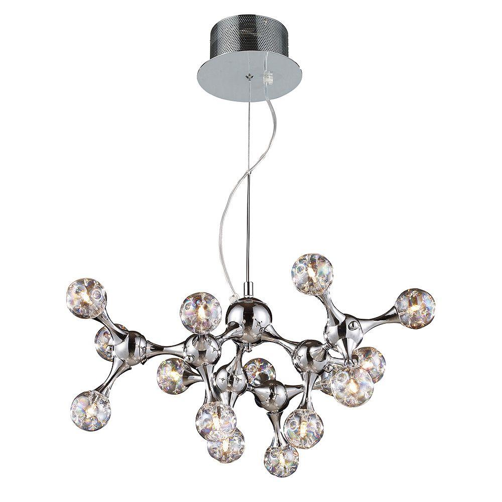 Titan Lighting Lustre à 15 ampoules au fini chrome poli