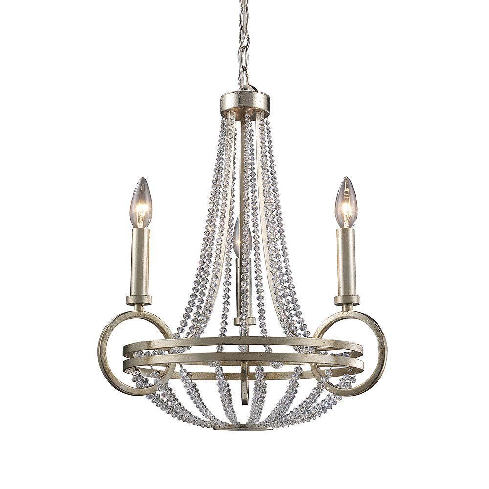 Titan Lighting 3-Light Ceiling Mount Renaissance Silver Chandelier