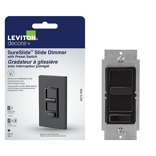 Leviton SureSlide Universal Slide Dimmer with Preset in Black