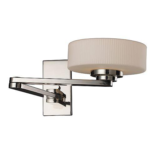 1-Light Wall Mount Polished Nickel Swing Arm