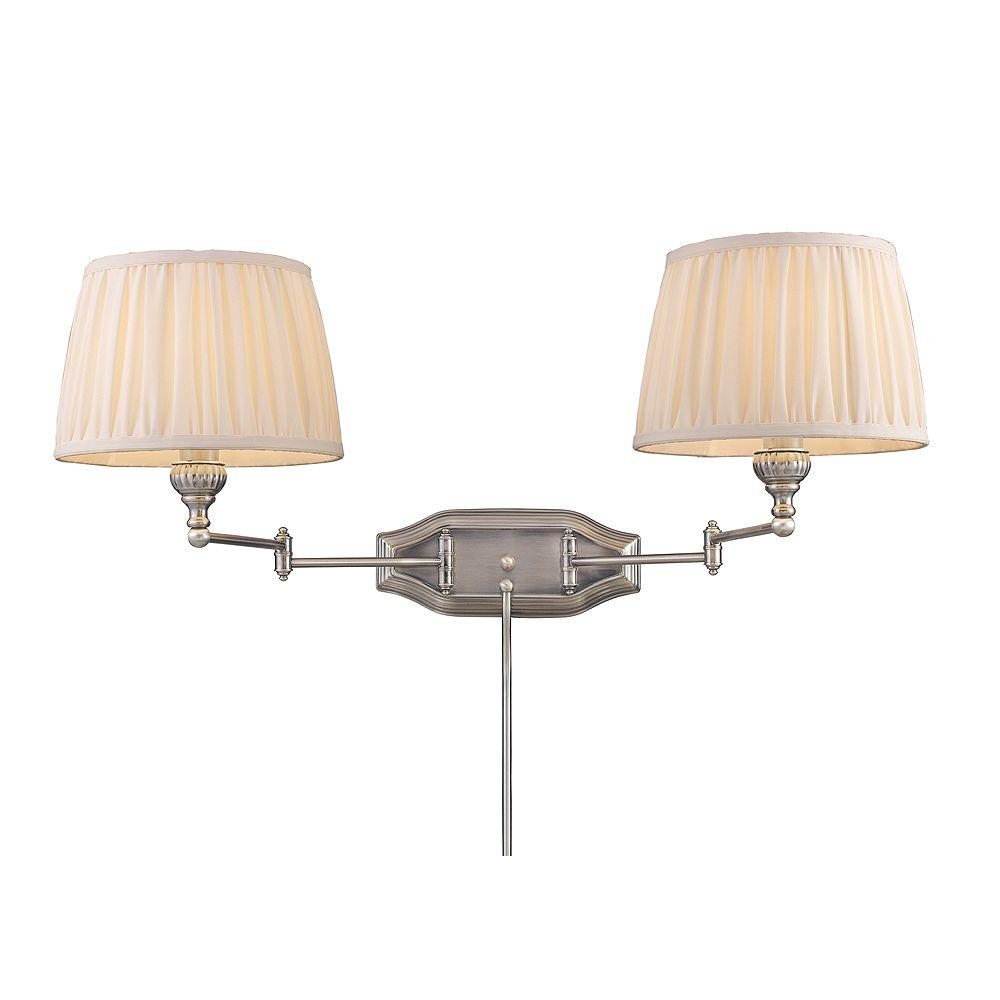Titan Lighting Applique à bras pivotant à 2 ampoules au fini nickel antique