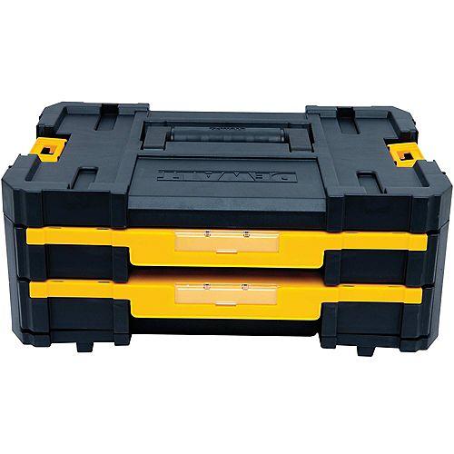 TSTAK IV Tiroir empilable de 7 po à 18 compartiments, double tiroir peu profond pour petites pièces et rangement d'outils