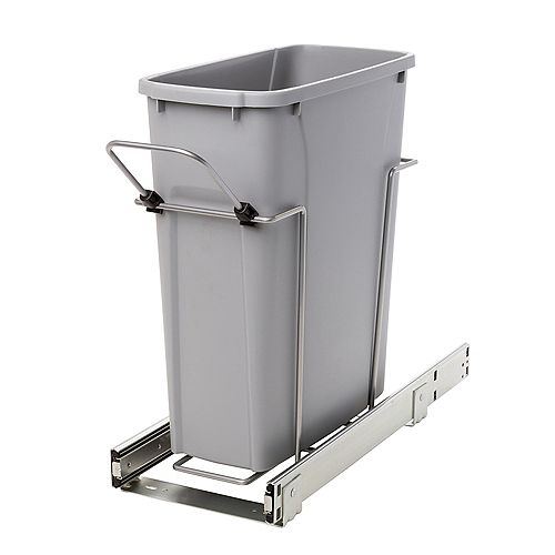 Poubelle coulissante avec bac 19 litres à fermeture amortie