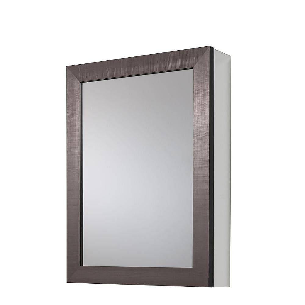 Glacier Bay 20-inch x 26 in Framed Aluminum Recessed or Surface-Mount Bathroom Medicine Cabinet in Coppered Pewter