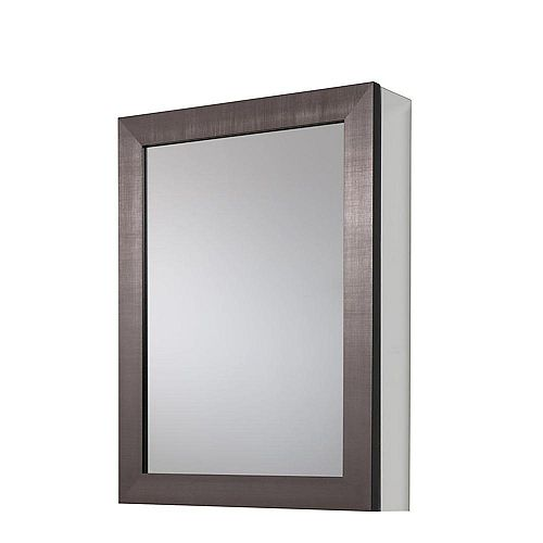 20-inch x 26 in Framed Aluminum Recessed or Surface-Mount Bathroom Medicine Cabinet in Coppered Pewter
