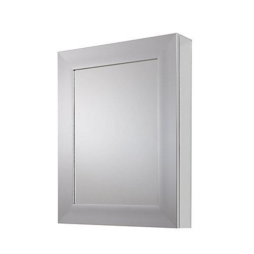 Armoire à pharmacie pour installation en surface ou encastrée, cadre fini nickel brossé,24 x 30po